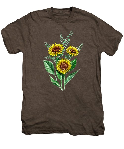 Three Playful Sunflowers Men's Premium T-Shirt by Irina Sztukowski