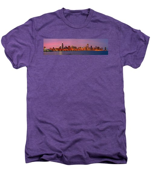 Chicago Skyline At Dusk 2008 Panorama Men's Premium T-Shirt by Jon Holiday