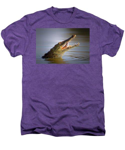 Nile Crocodile Swollowing Fish Men's Premium T-Shirt by Johan Swanepoel