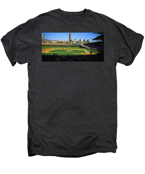 Spectators In A Stadium, Wrigley Field Men's Premium T-Shirt by Panoramic Images