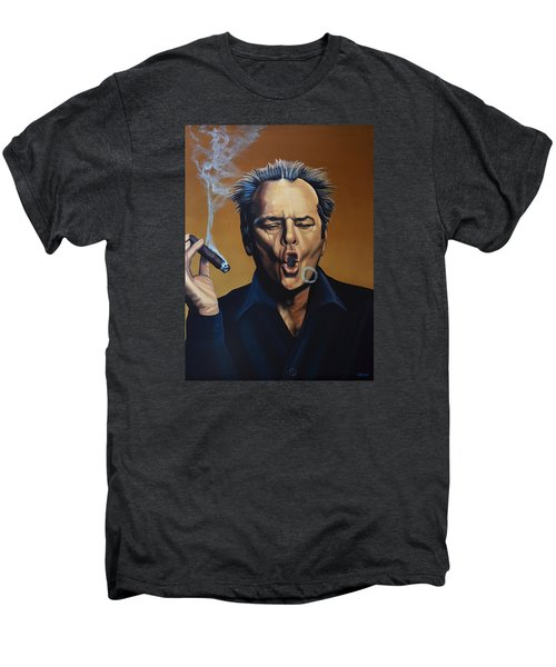 Jack Nicholson Painting Men's Premium T-Shirt by Paul Meijering