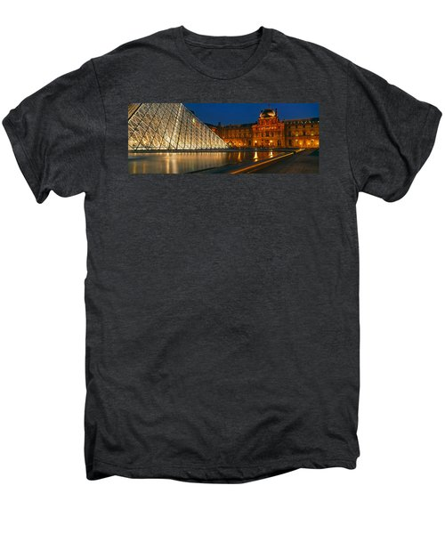 Pyramid At A Museum, Louvre Pyramid Men's Premium T-Shirt by Panoramic Images