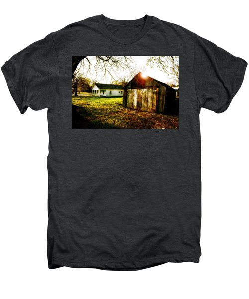 American Fabric   Mickey Mantle's Childhood Home Men's Premium T-Shirt by Iconic Images Art Gallery David Pucciarelli