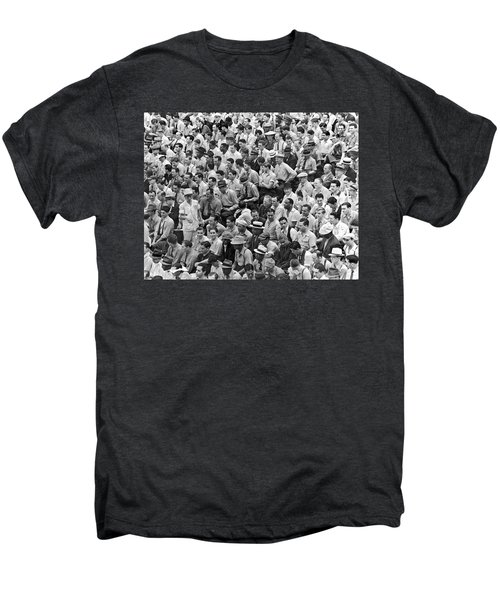 Baseball Fans In The Bleachers At Yankee Stadium. Men's Premium T-Shirt by Underwood Archives