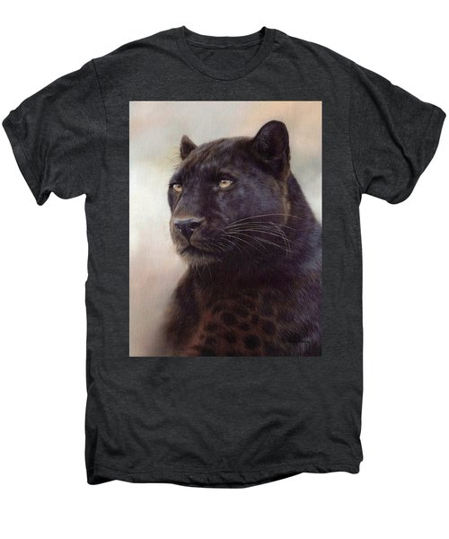 Black Leopard Painting Men's Premium T-Shirt by Rachel Stribbling
