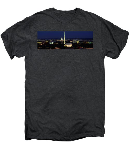 Buildings Lit Up At Night, Washington Men's Premium T-Shirt by Panoramic Images