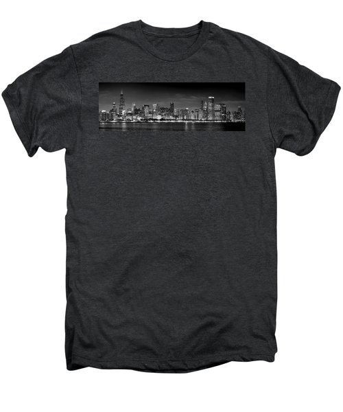 Chicago Skyline At Night Black And White Men's Premium T-Shirt by Jon Holiday