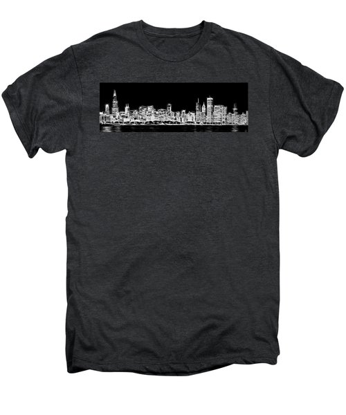 Chicago Skyline Fractal Black And White Men's Premium T-Shirt by Adam Romanowicz