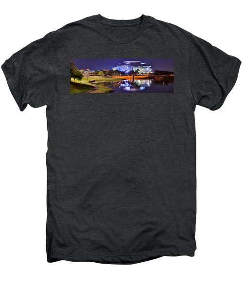 Dallas Cowboys Stadium At Night Att Arlington Texas Panoramic Photo Men's Premium T-Shirt by Jon Holiday