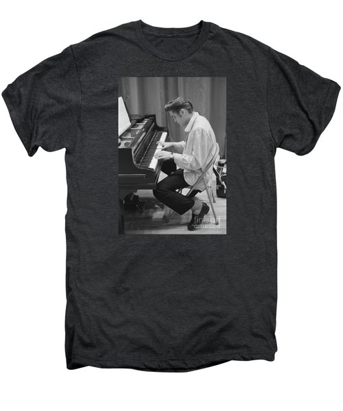 Elvis Presley On Piano While Waiting For A Show To Start 1956 Men's Premium T-Shirt by The Phillip Harrington Collection