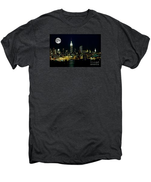 Full Moon Rising - New York City Men's Premium T-Shirt by Anthony Sacco