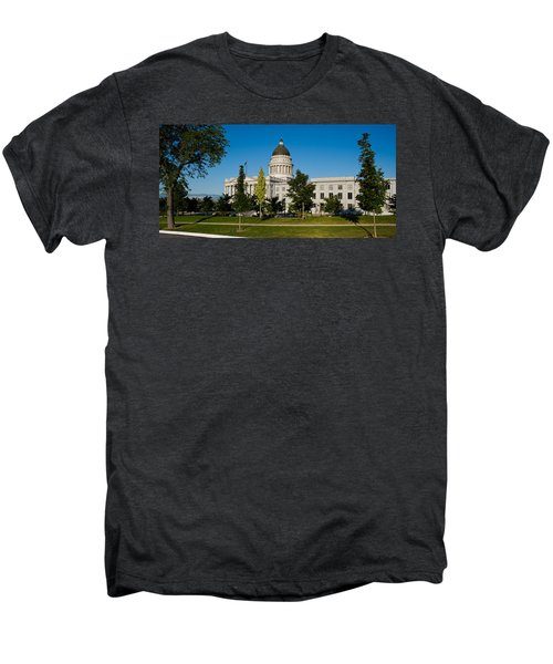 Garden In Front Of Utah State Capitol Men's Premium T-Shirt by Panoramic Images