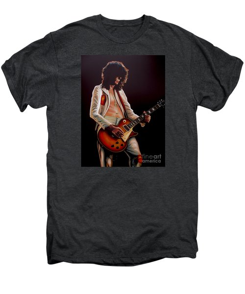 Jimmy Page In Led Zeppelin Painting Men's Premium T-Shirt by Paul Meijering