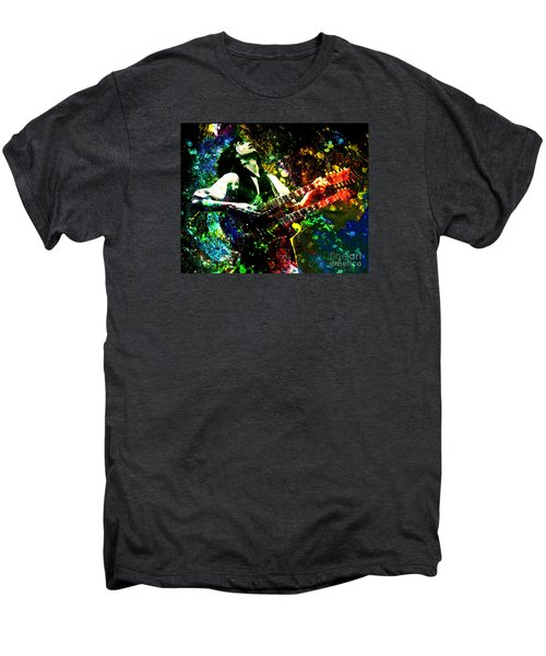 Jimmy Page - Led Zeppelin - Original Painting Print Men's Premium T-Shirt by Ryan Rock Artist