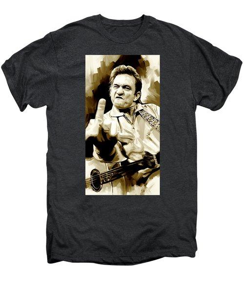 Johnny Cash Artwork 2 Men's Premium T-Shirt by Sheraz A