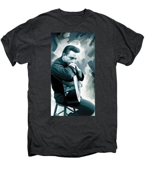 Johnny Cash Artwork 3 Men's Premium T-Shirt by Sheraz A
