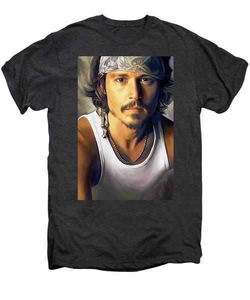 Johnny Depp Artwork Men's Premium T-Shirt by Sheraz A