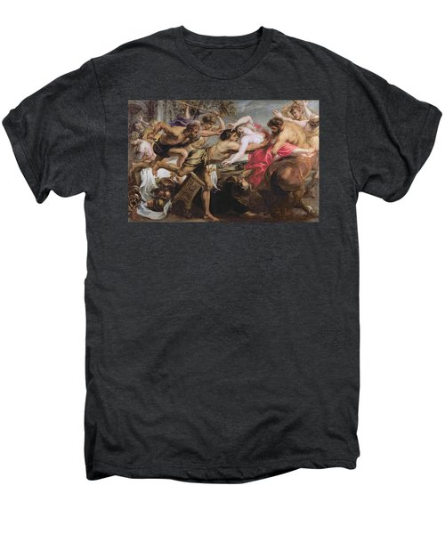 Lapiths And Centaurs Oil On Canvas Men's Premium T-Shirt by Peter Paul Rubens