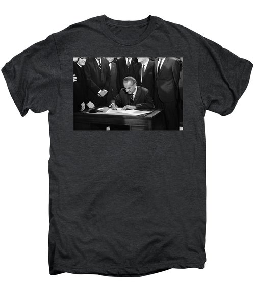 Lbj Signs Civil Rights Bill Men's Premium T-Shirt by Underwood Archives Warren Leffler