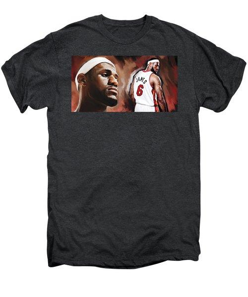 Lebron James Artwork 2 Men's Premium T-Shirt by Sheraz A