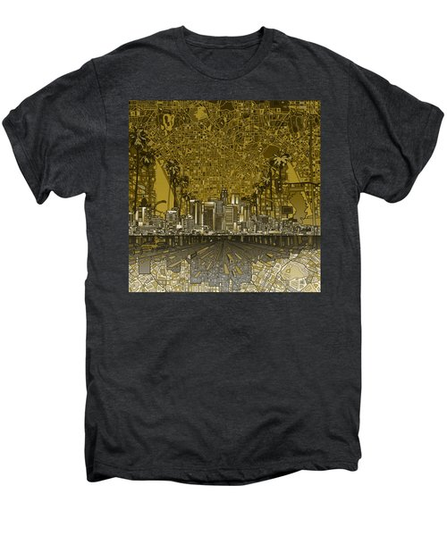 Los Angeles Skyline Abstract 4 Men's Premium T-Shirt by Bekim Art