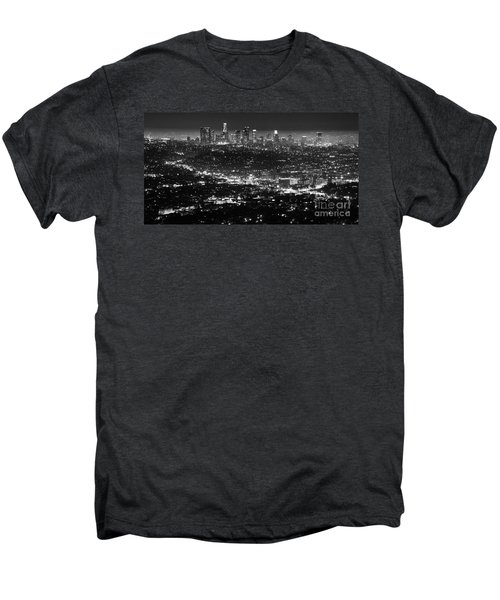 Los Angeles Skyline At Night Monochrome Men's Premium T-Shirt by Bob Christopher