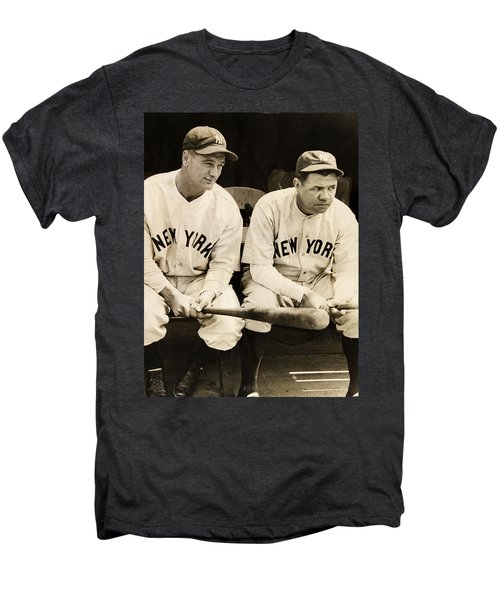 Lou Gehrig And Babe Ruth Men's Premium T-Shirt by Bill Cannon