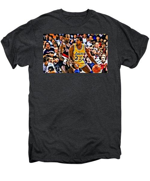 Magic Johnson Vs Clyde Drexler Men's Premium T-Shirt by Florian Rodarte