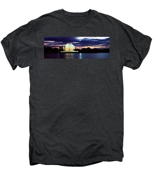 Monument Lit Up At Dusk, Jefferson Men's Premium T-Shirt by Panoramic Images