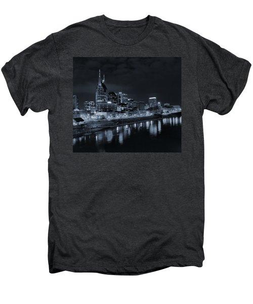 Nashville Skyline At Night Men's Premium T-Shirt by Dan Sproul