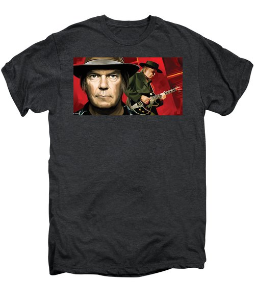 Neil Young Artwork Men's Premium T-Shirt by Sheraz A