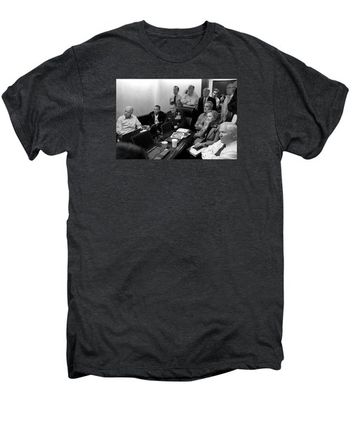 Obama In White House Situation Room Men's Premium T-Shirt by War Is Hell Store