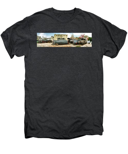 Old Trains Being Restored, Havana, Cuba Men's Premium T-Shirt by Panoramic Images