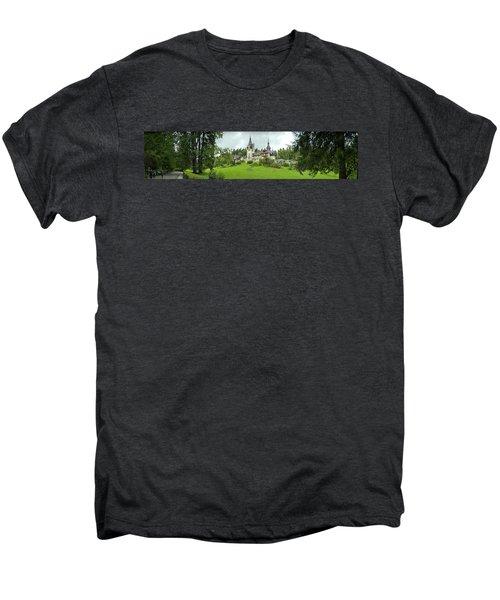 Peles Castle In The Carpathian Men's Premium T-Shirt by Panoramic Images