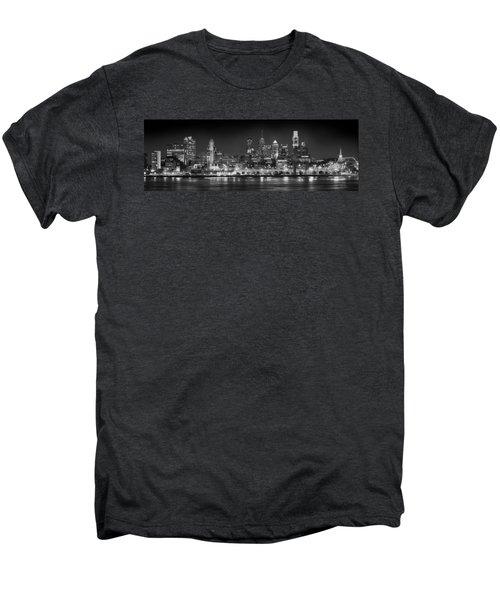 Philadelphia Philly Skyline At Night From East Black And White Bw Men's Premium T-Shirt by Jon Holiday