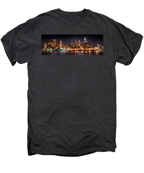 Philadelphia Philly Skyline At Night From East Color Men's Premium T-Shirt by Jon Holiday