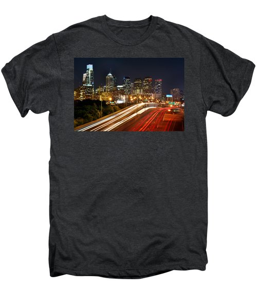 Philadelphia Skyline At Night In Color Car Light Trails Men's Premium T-Shirt by Jon Holiday