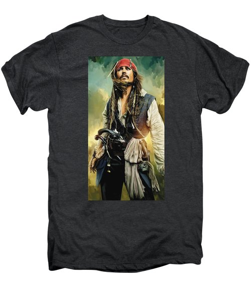 Pirates Of The Caribbean Johnny Depp Artwork 1 Men's Premium T-Shirt by Sheraz A