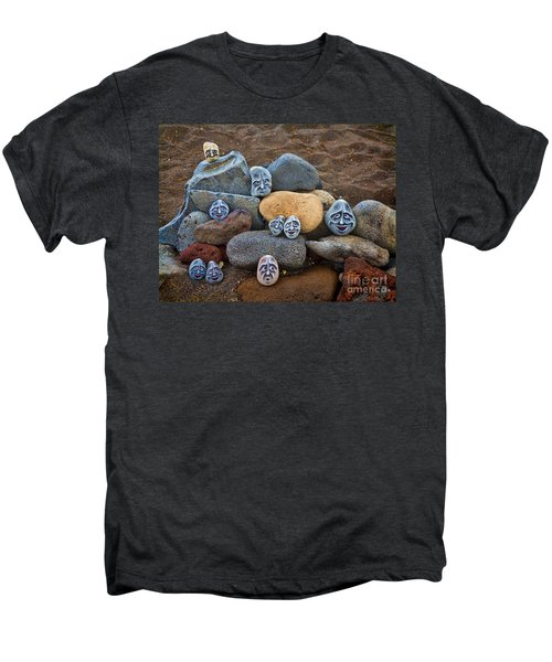 Rocky Faces In The Sand Men's Premium T-Shirt by David Smith