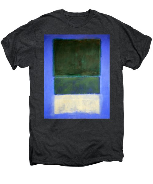 Rothko's No. 14 -- White And Greens In Blue Men's Premium T-Shirt by Cora Wandel