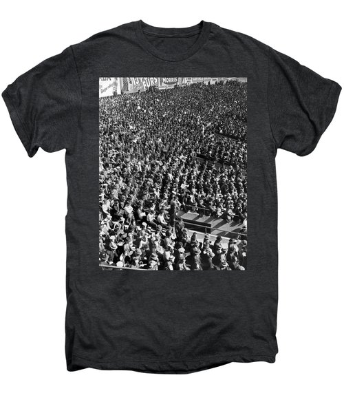 Baseball Fans At Yankee Stadium In New York   Men's Premium T-Shirt by Underwood Archives