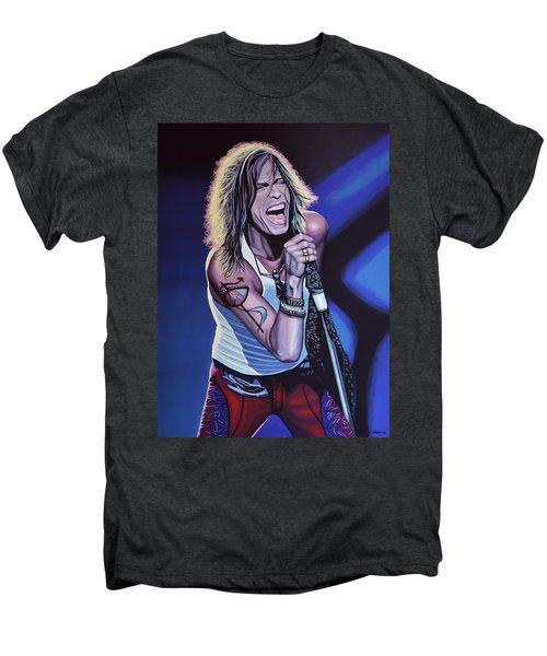 Steven Tyler Of Aerosmith Men's Premium T-Shirt by Paul Meijering