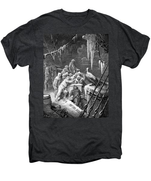 The Albatross Being Fed By The Sailors On The The Ship Marooned In The Frozen Seas Of Antartica Men's Premium T-Shirt by Gustave Dore
