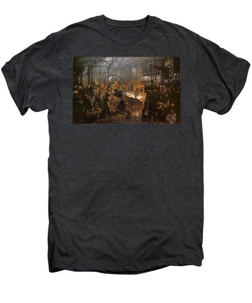 The Iron-rolling Mill Oil On Canvas, 1875 Men's Premium T-Shirt by Adolph Friedrich Erdmann von Menzel
