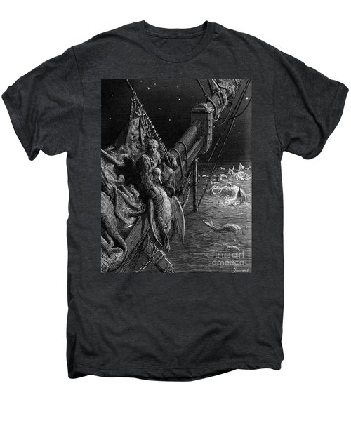 The Mariner Gazes On The Serpents In The Ocean Men's Premium T-Shirt by Gustave Dore