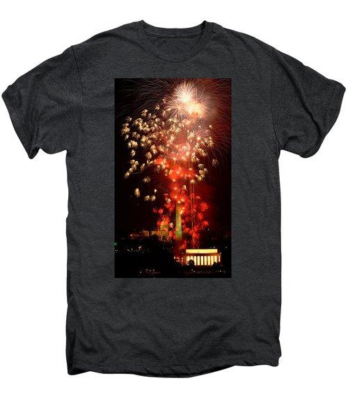 Usa, Washington Dc, Fireworks Men's Premium T-Shirt by Panoramic Images
