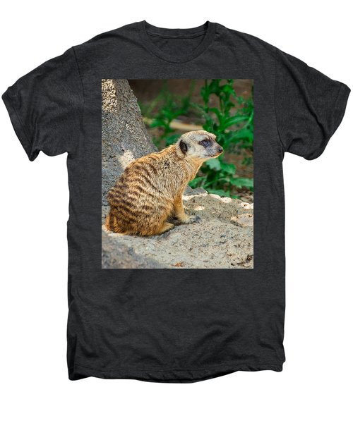 Watchful Meerkat Vertical Men's Premium T-Shirt by Jon Woodhams
