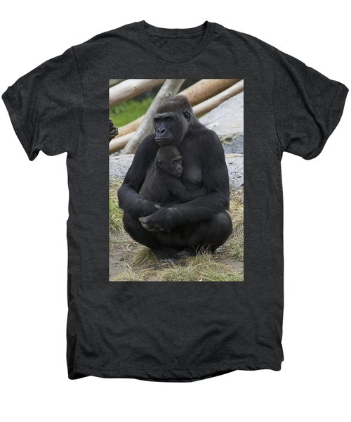 Western Lowland Gorilla Mother And Baby Men's Premium T-Shirt by San Diego Zoo