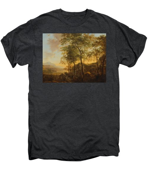 Wooded Hillside With A Vista Men's Premium T-Shirt by Jan Both
