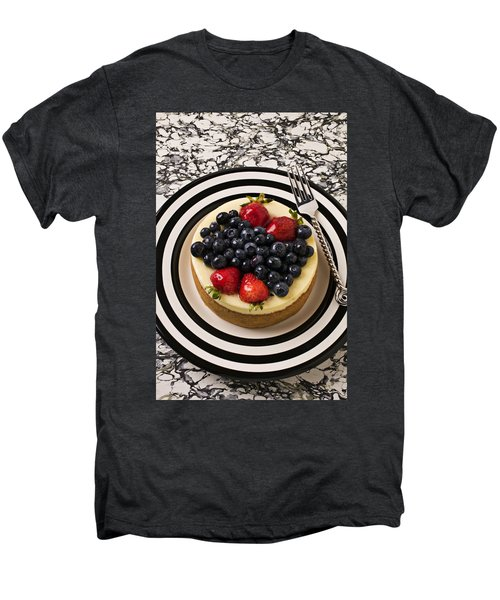 Cheese Cake On Black And White Plate Men's Premium T-Shirt by Garry Gay